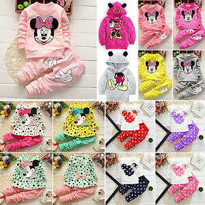 Kids-Baby-Girls-Tracksuit-Minnie-Mouse-Sweatshirt-Tops-Pants-Set-Outfit-Clothes