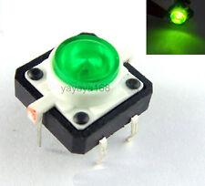 10pcs Illuminated Green LED Light Momentary Tact Switch Pushbutton 12x12mm DIP