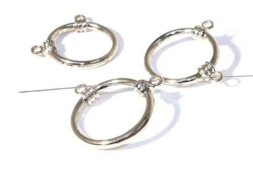 Metallperlen-Verbindungsring m 2 Ösen 30mm Silber #U8