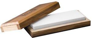 "Hard Arkansas Bench Stone W/ Wooden Box Fine Grit 800-1000, 10 x 2 x 0.75"" 30017"