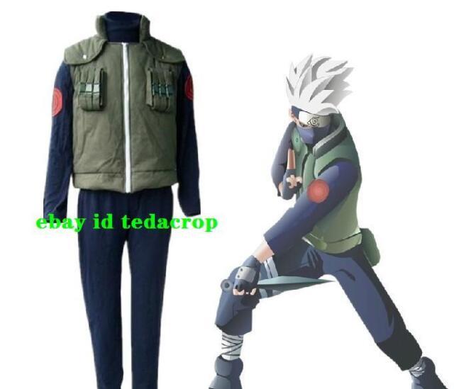 Naruto Kakashi Hatake Cosplay Costume Leaf Village Konoha Jounin Uniform S M L
