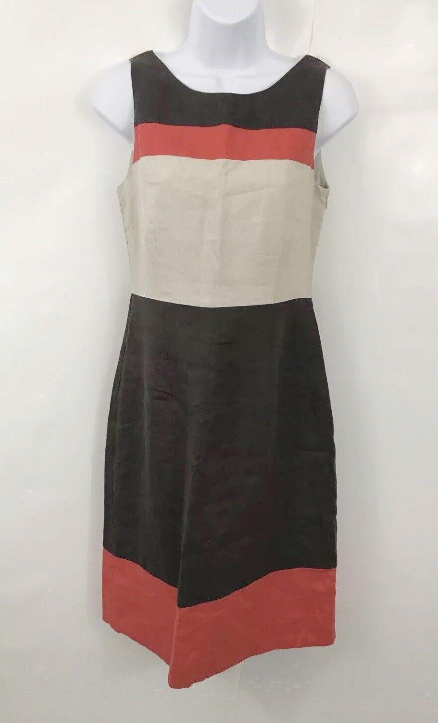 Ladies Laura Ashley Summer Linen Tea Dress Size 8 Beige orange Brown Lined