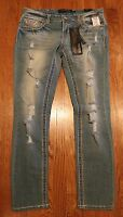 Rue 21 Premiere Jeans 7/8 Reg Low Rise Skinny Distressed Embroidered
