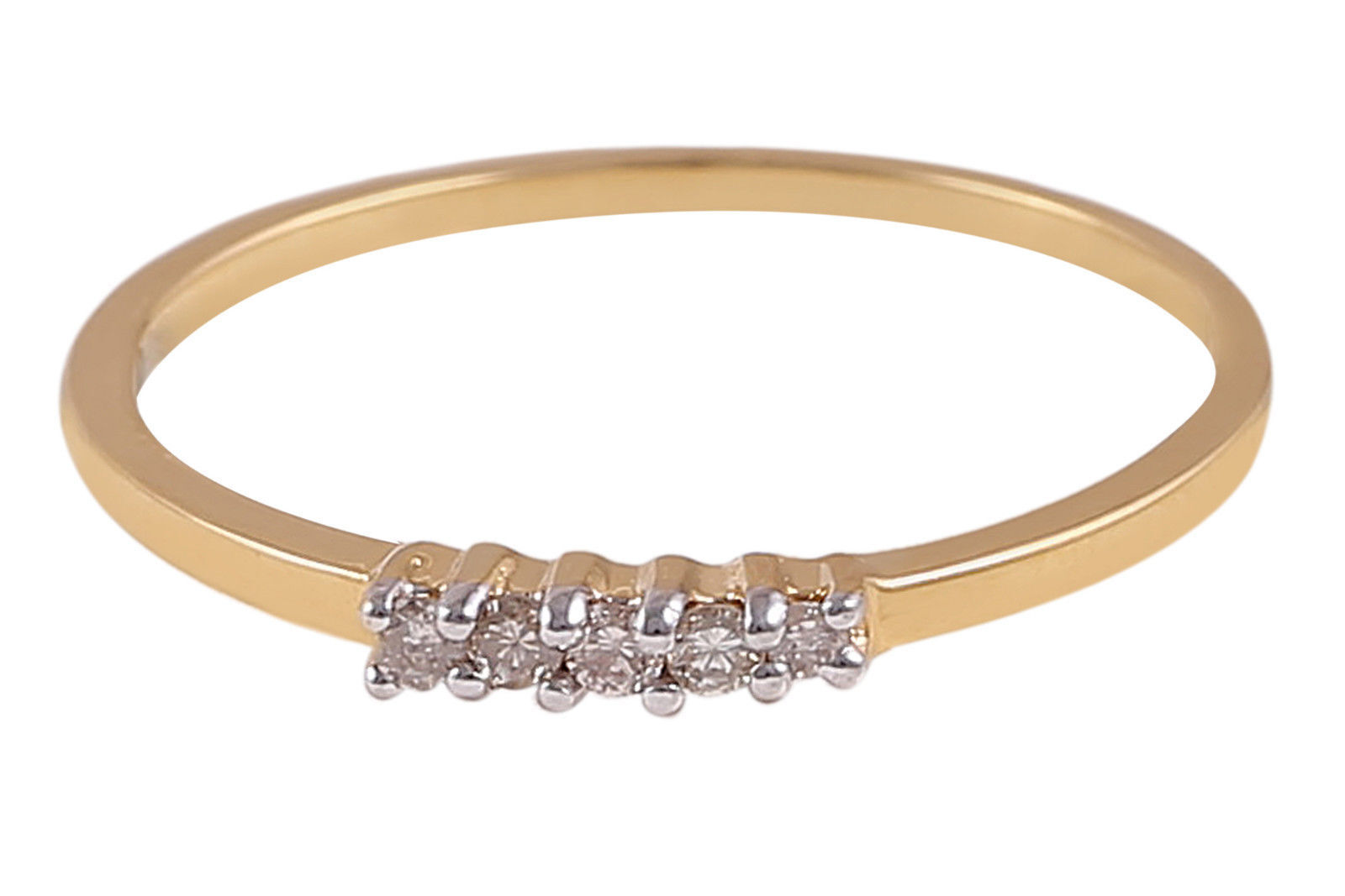 Pave 0.25 Cts Natural Diamonds Five-Stone Ring In Solid Hallmark 18K Yellow gold