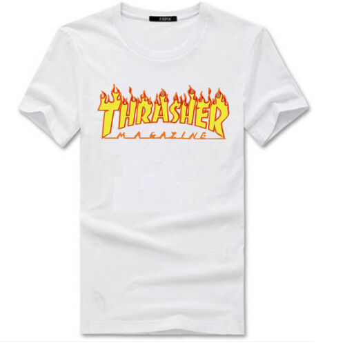2019 Men Women Kids Tee Thrasher T-Shirt Flame Skateboard Short Sleeve Magazine