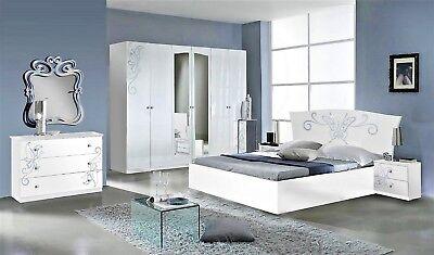 Camera da letto matrimoniale moderna completa di rete a doghe modello  Buterfly | eBay
