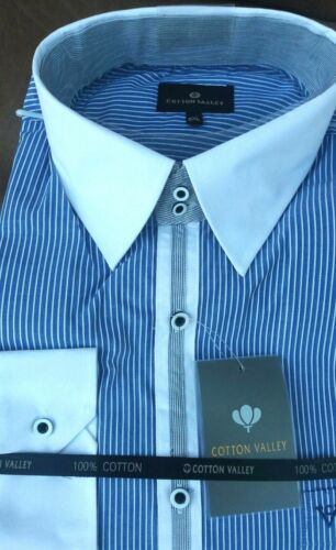 Kingsize Cotton Valley A Manica Lunga Camicia a Righe Blu Colletto Bianco 2XL3XL4XL5XL6