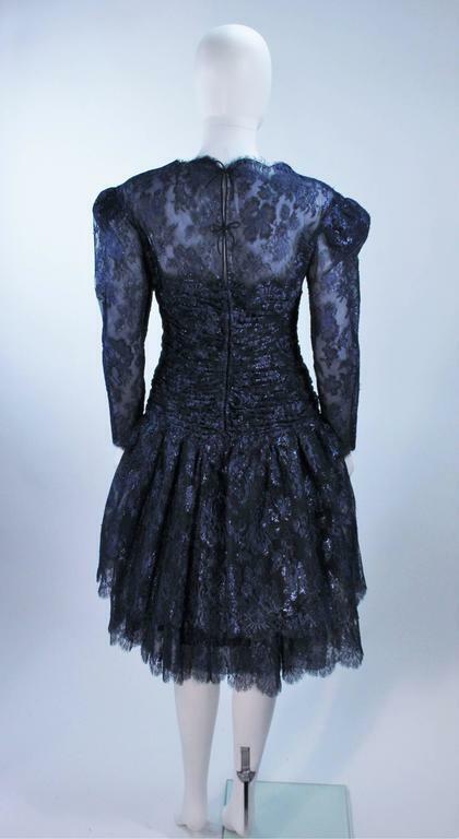 ARNOLD SCAASI Navy Metallic Lace Cocktail Dress S… - image 7