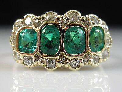 18K Emerald Diamond Ring Vintage Art Deco Retro Period Estate Old Mine Size 7.75