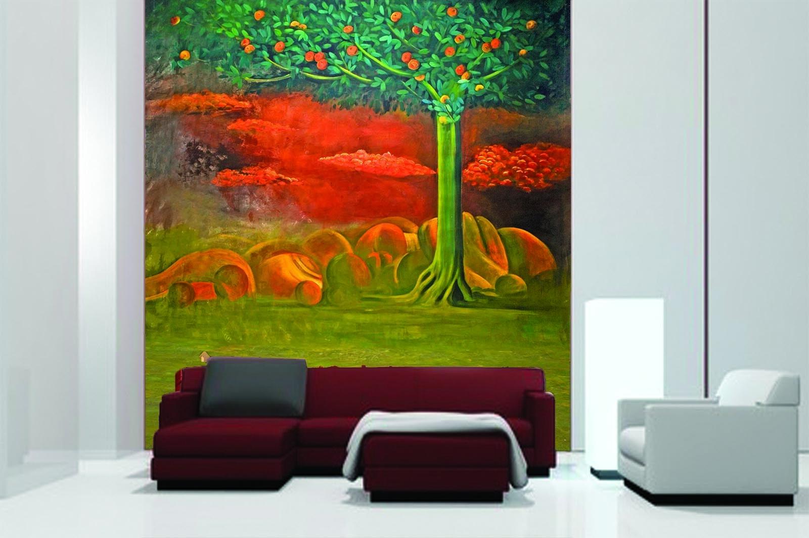 3D orangen Baum Terrine 96 Tapete Wandgemälde Tapete Tapeten Bild Familie DE