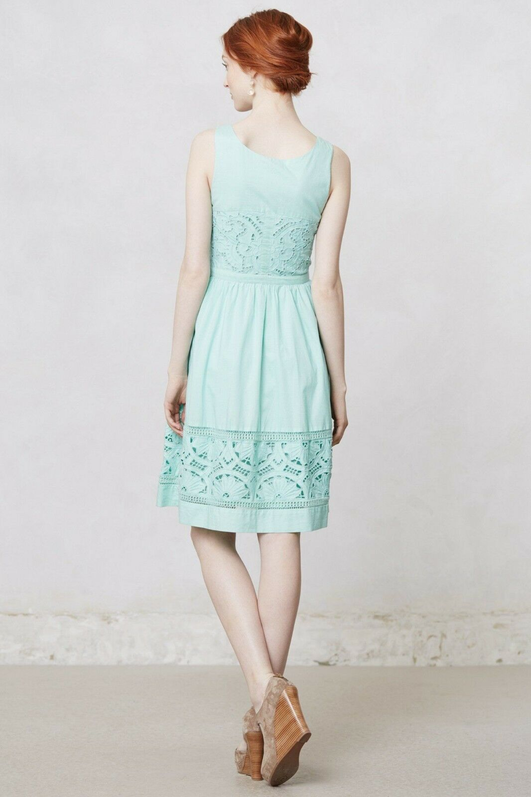 Anthropologie Meadow Rue BottleGrün Dress Mint Turquoise Crochet Floral Größe 0