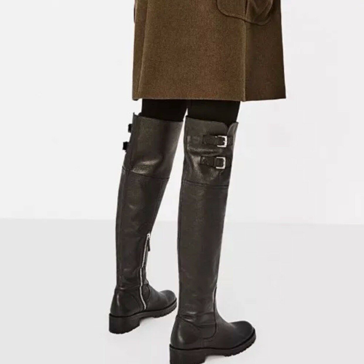 NWT ZARA  179 100% 100% 100% COW LEATHER OVER THE KNEE FLAT bottes ZIP & BUCKLES 6014 101 94b5b1