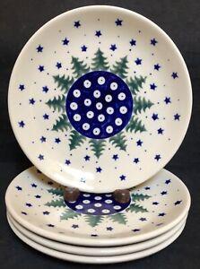 NEW-Set-of-4-BOLESLAWIEC-Polish-Plates-Christmas-Trees-Blue-Stars-7-3-4-034-NEW