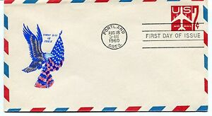 Copieux Ffc 1960 First Flight First Day Of Issue Eagle Us Air Mail Oregon