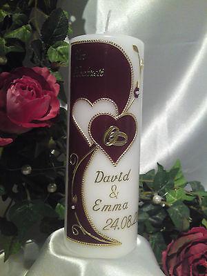 Hochzeitskerze 200/70mm Weinrot/Gold sehr Edel Top Neu 2013 H012