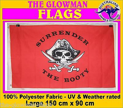 pirate flag pirates flag SURRENDER the BOOTY flag PLUS FREE STICKER GRAPHIC