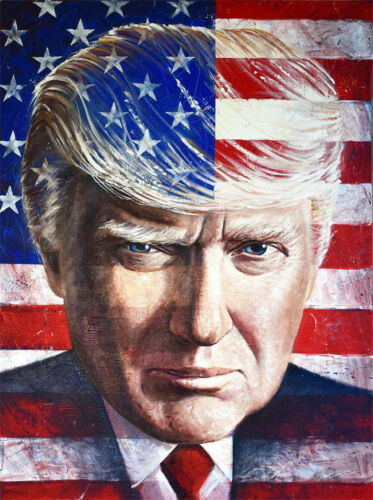 CHOP37 100/% handpainted abstract USA Donald Trump oil painting art on canvas