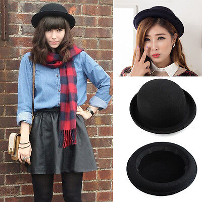 Vogue Women Girl Vintage Wool Black Bowler Derby Fedora Trilby Hat Cap Hats