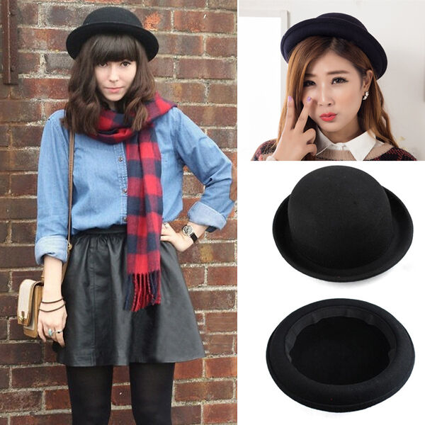 afcee73927d Vogue Women Girl Vintage Wool Black Bowler Derby Fedora Trilby Hat Cap Hats
