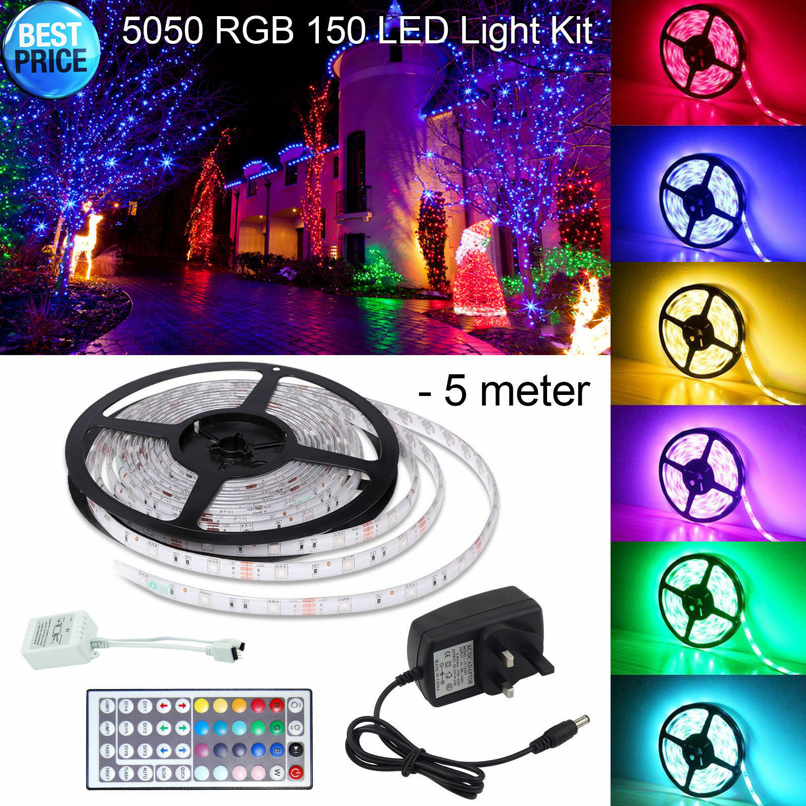 5m 10m 5050 Rgb 150 300 LED tira Flexible impermeable Luz + receptor + Control Remoto