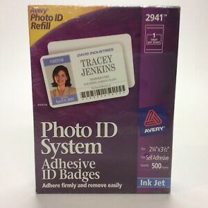 Details about Visitor Photo ID Badge - Avery Replacement Refill 2941 Self  Adhesive