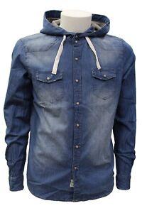 Camicia da uomo di jeans blu Smithy's con cappuccio manica lunga casual moda