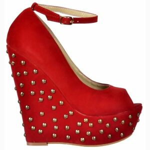 aadb3aa7b481 Ladies Studded Suede Wedge Peep Toe Platform Shoes Ankle Strap Red ...