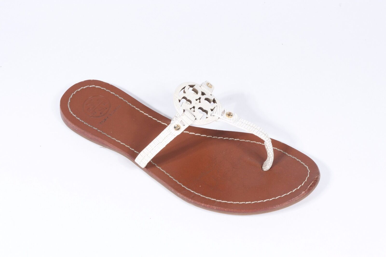 Tory Burch chaussures sandals flats mini miller blanc reptile 7.5