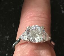 Christmas 2CT DIAMOND ENGAGEMENT RING Three-Stone 14K WHITE GOLD ENHANCED Size 6