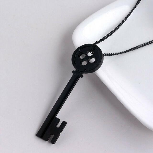 Necklace Collier Coraline Black Button Key Clé Bouton Noir Tim Burton Gothique