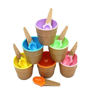 Children Plastic Ice Cream Bowls Spoons Set Durable Ice Cream Cup Dessert R