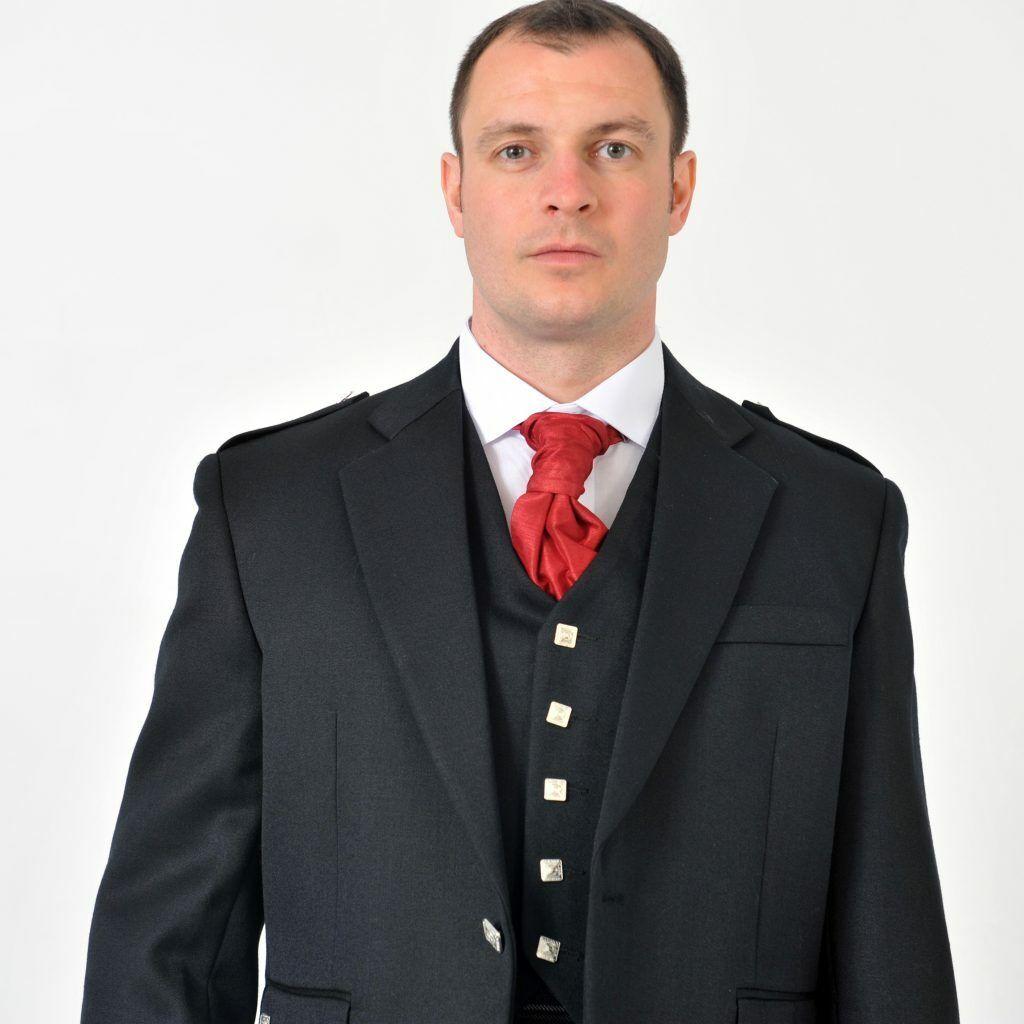 Black Argyll Jacket & Vest Waistcoat 100% Wool Quality Formal Kilt Jacket