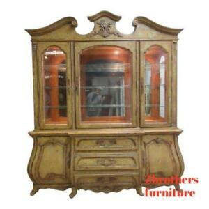 Century-Paint-Distressed-Bombay-French-Carved-Old-World-China-Cabinet-Hutch