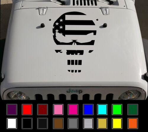 "23/"" x 16.5/"" Jeep Wrangler Punisher American Flag USA vinyl hood decal JK LJ TJ"