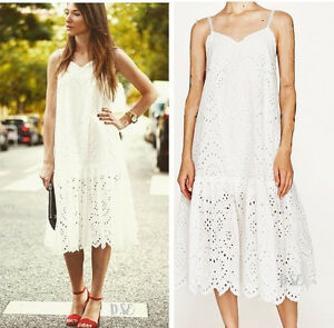 ZARA-OFF-WHITE-EYELET-CROCHET-LACE-MIDI-DRESS-M-L