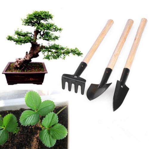 3Pcs//set Mini Wooden Handle Shovel Rake Spade Gardening Garden Plant Tools Set