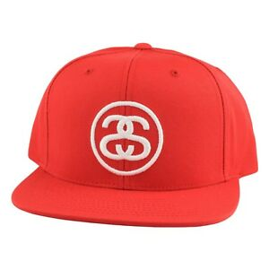 4cf61c37489 STUSSY SS LINK SP 16 RED SNAPBACK EMBROIDERY STREETWEAR ONE SIZE
