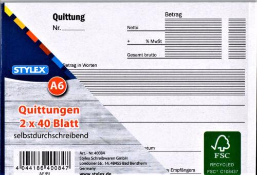2 x 40 Blatt 40084 Stylex Quittungen selbstdurchschreibend DIN A6 NEU !!!