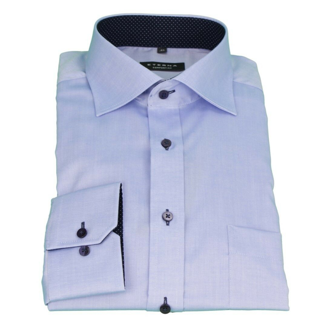 Eterna Men's Business Shirt Comfort Fit bluee Uni Plain 8100 E137 12