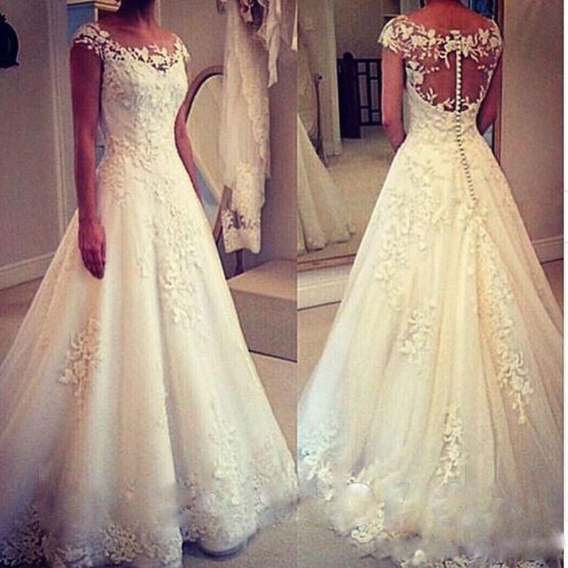 New Cap Sleeve Lace Applique A-Line Wedding Bridal Gown Dress Custom Size