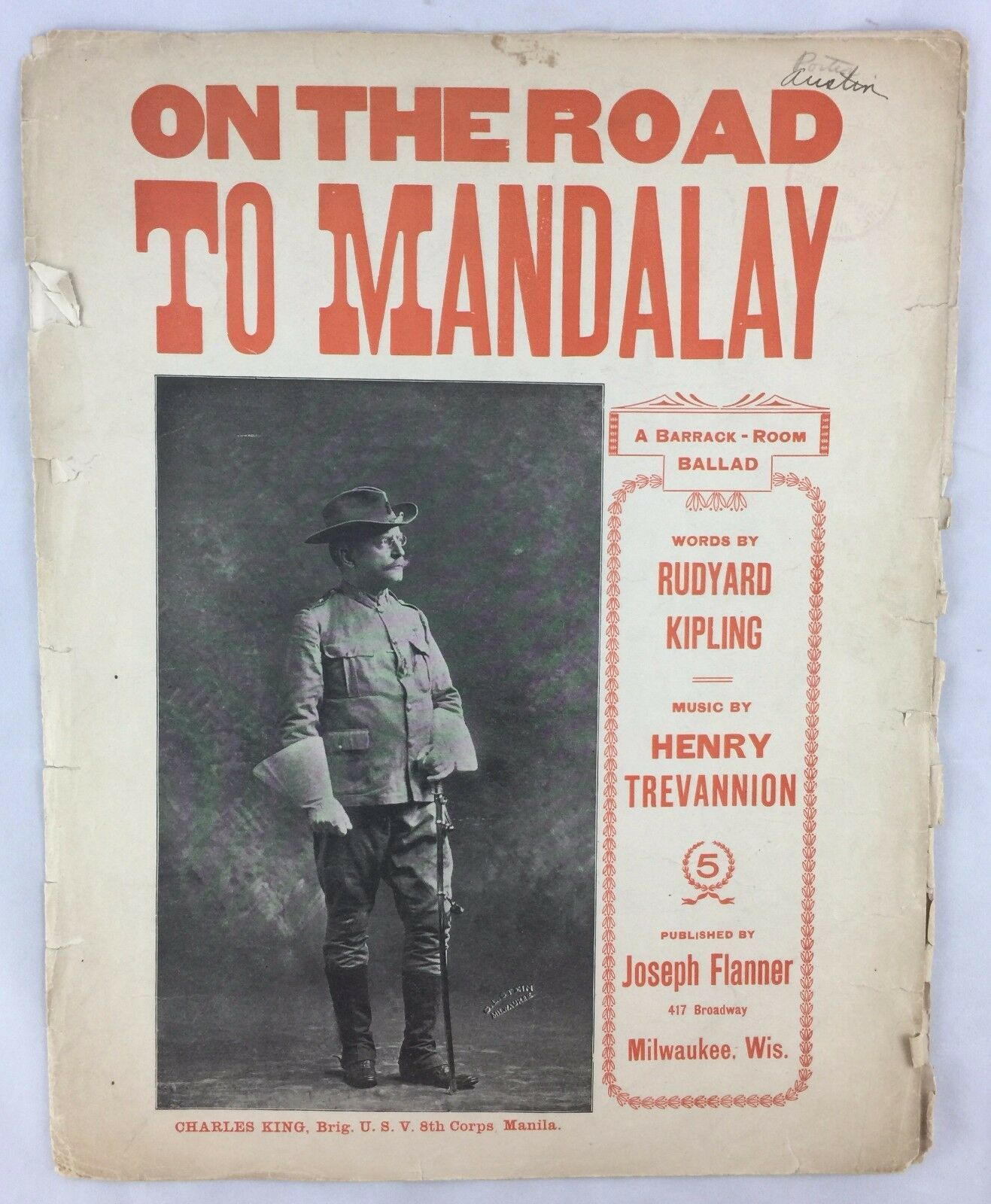 1898 Spanish American War Sheet Music On the Road To Mandalay Rudyard Kipling