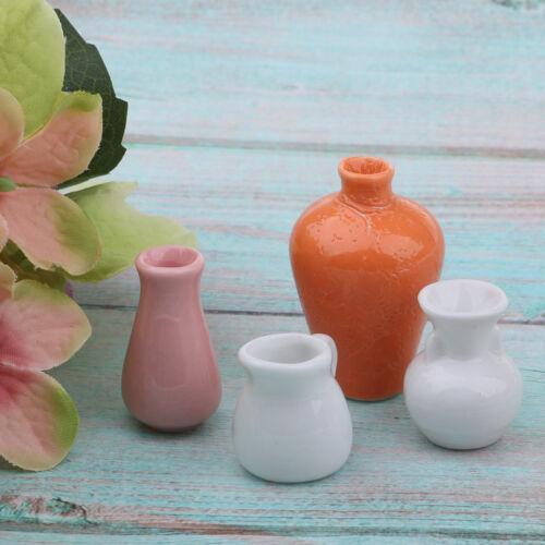 1//12 Dollhouse Miniatures Antique China Porcelain Flower Vases Set 4pcs