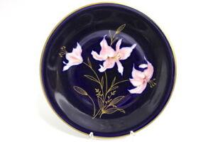 Edelstein-Kuchenteller-Kobalt-Blumendekor