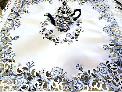 "DUTCH DELFT  Lace Doily  33"" Sq Table Topper  White & Blue Rose"