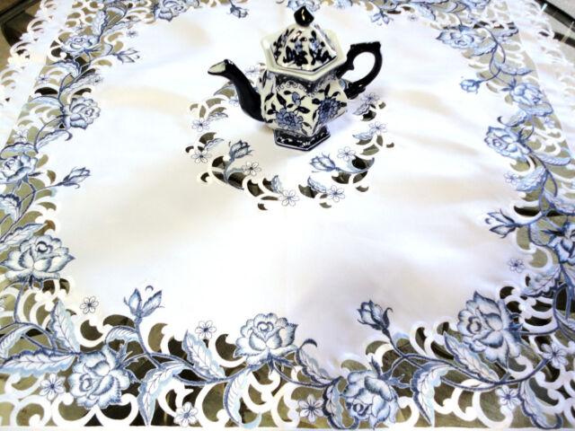 "DUTCH DELFT  Lace Doily  33"" Sq Table Topper  White & Blue Rose"