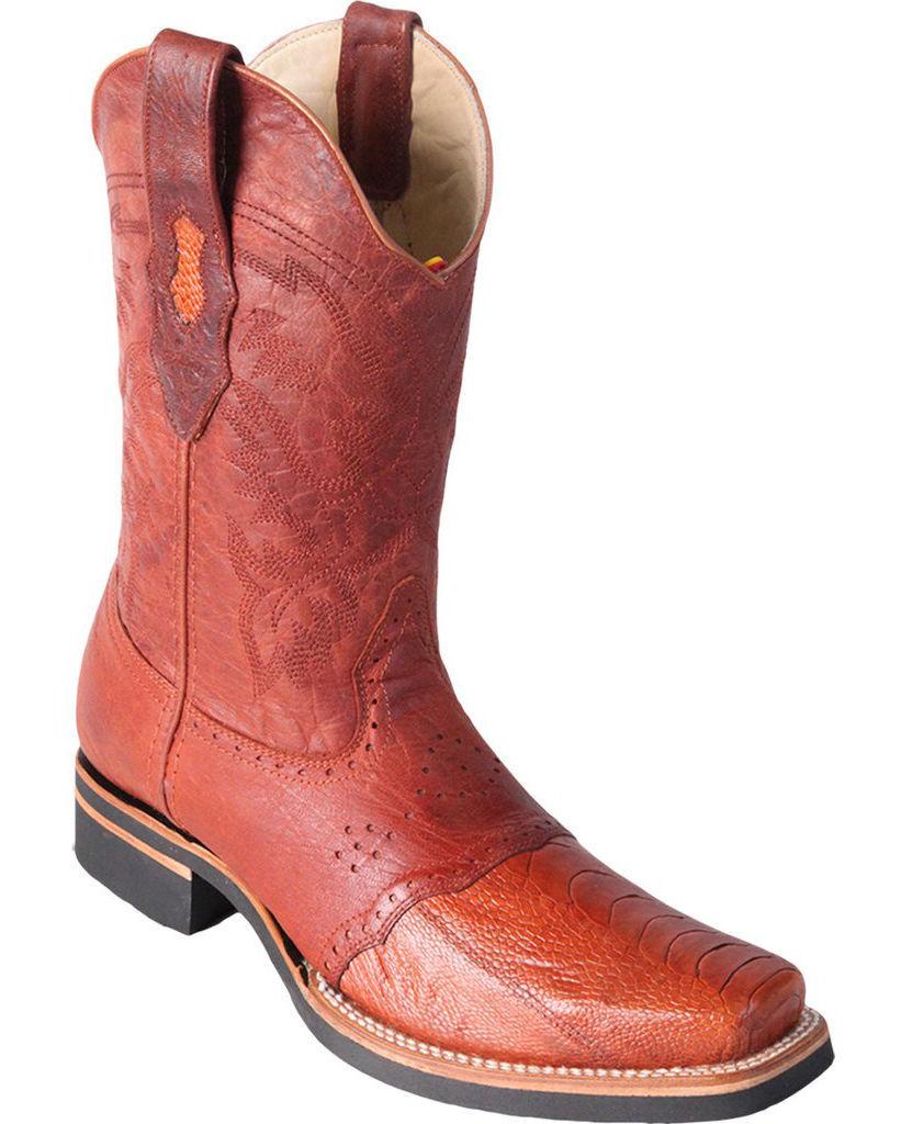 Los Altos COGNAC Genuine Ostrich Leg Rodeo Square Toe Western Cowboy avvio EE