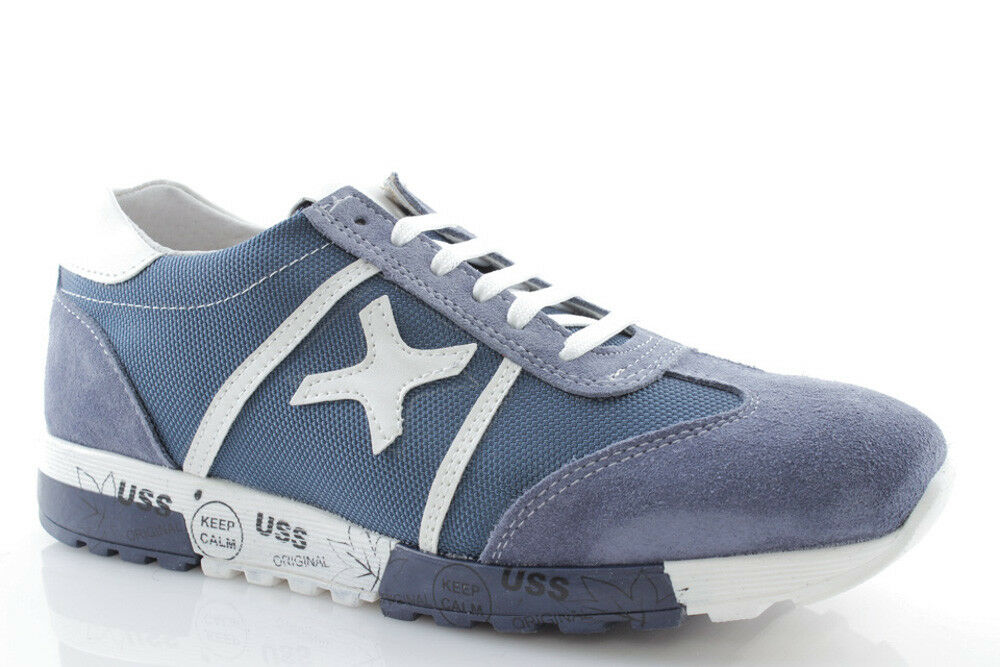 Baskets uomo jeans pelle blu jeans uomo beige scarpe estive stringate sportive italiane adc3bb