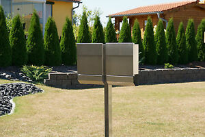 briefkasten standbriefkasten d freistehend edelstahl v4a doppelbriefkasten ebay. Black Bedroom Furniture Sets. Home Design Ideas