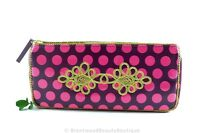 Mac Makeup Cosmetics Bag Burgundy Pink Polka Dot With Gold Embroidery 4 X 8