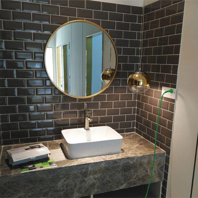 Bathroom mirror gold round makeup mirror bathroom wall iron mirror LO68916